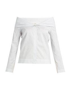 Isa Arfen | Pinstriped Off-The-Shoulder Cotton-Blend Top