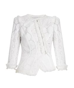 Andrew Gn | Asymmetric Broderie-Anglaise Cotton Jacket