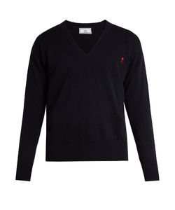 Ami | Logo-Embroidered V-Neck Wool Sweater