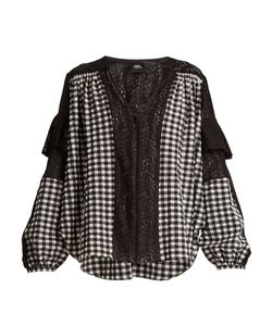 Rachel Comey | Oversized Gingham-Checked Lace-Trimmed Blouse