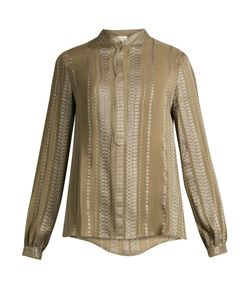 ZEUS + DIONE | Hera Geometric-Jacquard Silk-Blend Shirt