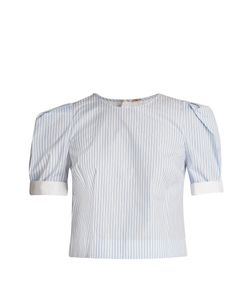 Adam Lippes | Pleated-Sleeve Striped Cotton Top