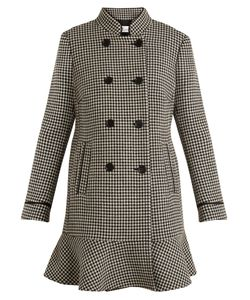 Red Valentino | Hounds-Tooth Ruffled Coat