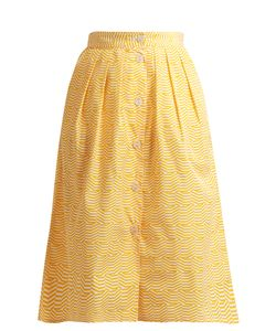 Thierry Colson | Striped Pleated Cotton Skirt