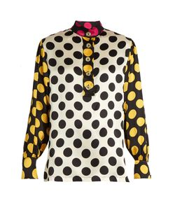 Duro Olowu | Large Polka-Dot Print Silk-Satin Blouse