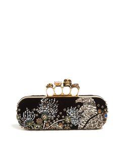 Alexander McQueen | Crystal-Embellished Velvet Knuckle Clutch