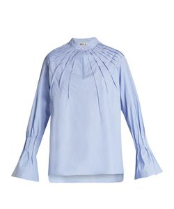 Teija | Pintucked Bell-Cuff Cotton Blouse