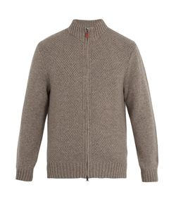 INIS MEÁIN | Moss Zip-Through Wool Sweater
