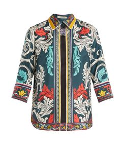Mary Katrantzou | Rita Queens-Print Silk-Twill Top