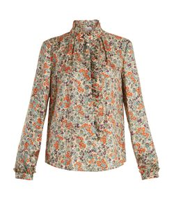 Red Valentino | -Print Ruffle-Trimmed Silk Shirt