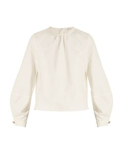Tibi | Chassis Lantern-Sleeved Cotton And Linen-Blend Top