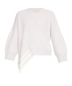 Stella Mccartney | Lace Insert Wool And Silk-Blend Sweater