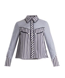 House Of Holland | Contrast-Striped Point-Collar Cotton Shirt