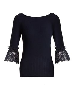 Oscar de la Renta | Lace-Trimmed Wool Sweater