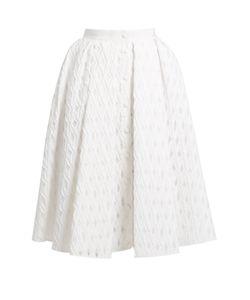 Sara Battaglia | Button-Through Cotton-Blend Fil Coupé Full Skirt