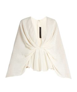 Elie Saab | Striped V-Neck Georgette Kimono Top