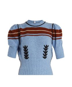 Miu Miu | Embroidered And Striped-Intarsia Wool Knit Sweater