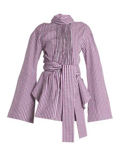 Teija | Cut-Out Cotton-Gingham Wrap Top