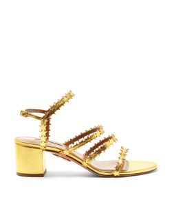 Aquazzura   Starlight Block-Heel Leather Sandals