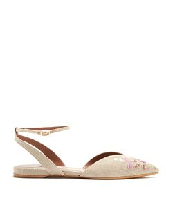 Tabitha Simmons | Vera Rose Point-Toe Embroidered Flats