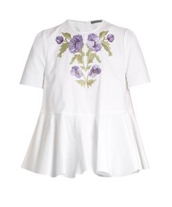 Alexander McQueen | Embroide Cotton-Piqué Blouse