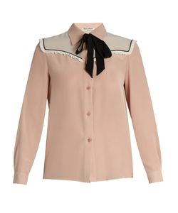 Miu Miu | Neck-Tie Silk Crepe De Chine Blouse