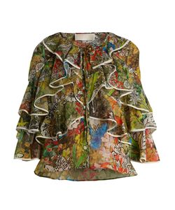 Peter Pilotto | Fluted-Panel Print Silk-Georgette Blouse