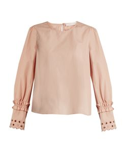See By Chloe | Eyelet-Embroidered Cotton Top