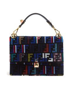 Fendi | Kan I Logo-Print Velvet Shoulder Bag
