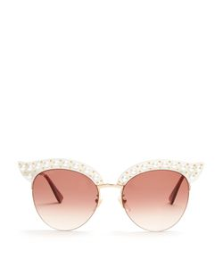 Gucci | Cat-Eye Faux-Pearl Embellished Metal Sunglasses