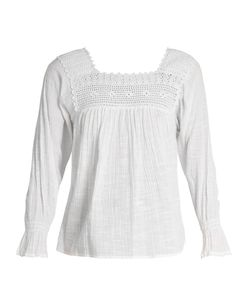 Masscob | Crochet-Trimmed Cotton-Gauze Top