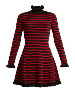 Red Valentino | High-Neck Striped A-Line Dress