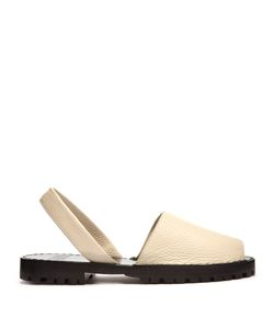 Goya | Pebbled-Leather Slingback Sandals