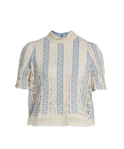 Sea | Column Embroidered-Lace Cotton Top
