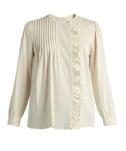 Masscob | Pintuck-Pleated Ruffle-Trimmed Silk Top