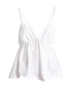 See By Chloe | -Embroidered Cotton-Poplin Cami Top