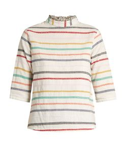 ACE & JIG | Sylvia High-Neck Embroidered-Stripe Cotton Top