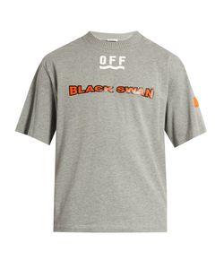 Moncler O   Swan-Print Short-Sleeved Cotton T-Shirt