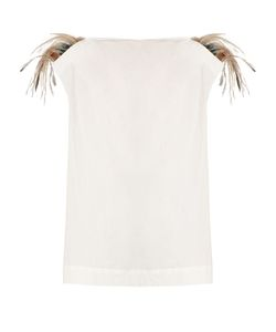 Isa Arfen | Feather-Trimmed Cotton-Blend Top
