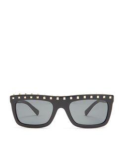 Valentino | Rockstud-Embellished Flat-Top Sunglasses