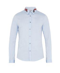 Gucci | Duke Snake-Appliqué Point-Collar Cotton Shirt