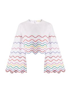 Sara Battaglia | Wave-Embroidered Bell-Sleeve Cotton Top