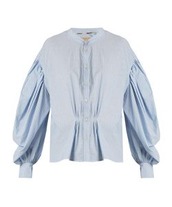 Burberry | Lillum Balloon-Sleeve Striped Cotton Shirt
