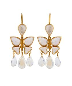 MARIE HELENE DE TAILLAC | Moon Stone Yellow-Gold Earrings