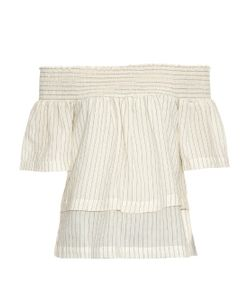 BLISS AND MISCHIEF | Off-The-Shoulder Pinstripe Linen Blouse