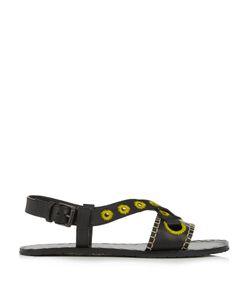 Bottega Veneta | Rivet-Detail Embroidered Leather Slingback Sandals