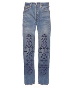 BLISS AND MISCHIEF | Bandana Embroidered Straight-Leg Jeans