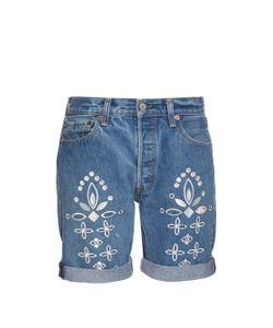 BLISS AND MISCHIEF | Shadow Flower Embroidered Denim Shorts