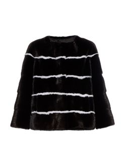 LILLY E VIOLETTA | Sarah Striped Collarless Mink-Fur Jacket