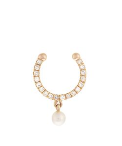 ANISSA KERMICHE | Diamond Pearl Yellow-Gold Nose Ring